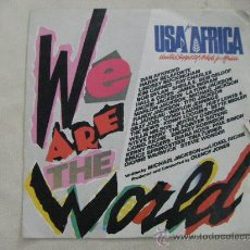 Discos de vinilo: SINGLE USA FOR AFRICA WE ARE THE WORLD. Lote 29450653