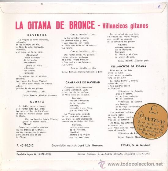 "Discos de vinilo: La Gitana de Bronce – Villancicos gitanos - Navideña – Gloria – 1966 – EP 7"" FIDIAS - Foto 2 - 29501212"