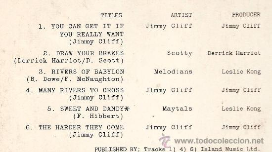 Discos de vinilo: LP BANDA SONORA : JIMMY CLIFF - THEY HARDER THEY COME - Foto 2 - 29520350