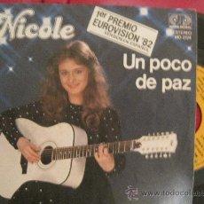 Disques de vinyle: NICOLE - UN POCO DE PAZ - EUROVISION 1982 ALEMANIA. Lote 29536140