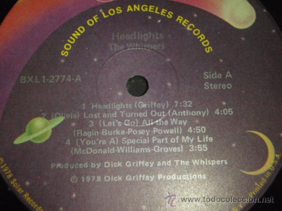 Discos de vinilo: THE WHISPERS ' HEADLIGHTS ' NEW YORK-USA 1978 LP33 SOUND OF LOS ANGELES RECORDS - Foto 3 - 29549443