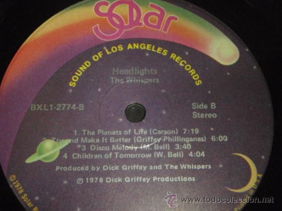 Discos de vinilo: THE WHISPERS ' HEADLIGHTS ' NEW YORK-USA 1978 LP33 SOUND OF LOS ANGELES RECORDS - Foto 4 - 29549443