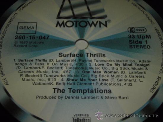 Discos de vinilo: THE TEMPTATIONS ' SURFACE THRILLS ' 1983 - GERMANY LP33 MOTOWN RECORDS - Foto 3 - 29569331