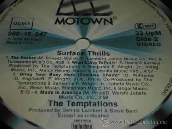 Discos de vinilo: THE TEMPTATIONS ' SURFACE THRILLS ' 1983 - GERMANY LP33 MOTOWN RECORDS - Foto 4 - 29569331