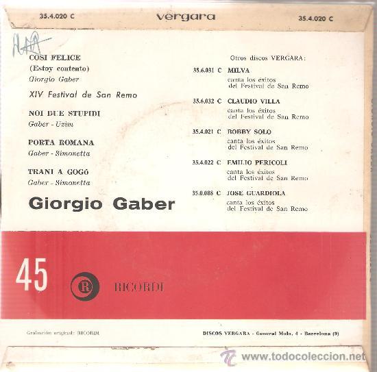 Discos de vinilo: EP GIORGIO GABER : COSI FELICE (SAN REMO 1964) - Foto 2 - 29575449