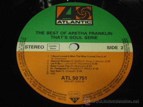 Discos de vinilo: Aretha Franklin ?– The Best Of Aretha Franklin, Germany 1980 Atlantic - Foto 4 - 29591933