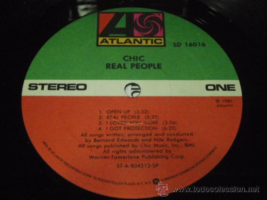 Discos de vinilo: CHIC ' REAL PEOPLE ' NEW YORK - USA 1980 LP33 ATLANTIC RECORDS - Foto 3 - 29603562