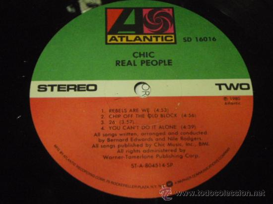 Discos de vinilo: CHIC ' REAL PEOPLE ' NEW YORK - USA 1980 LP33 ATLANTIC RECORDS - Foto 4 - 29603562