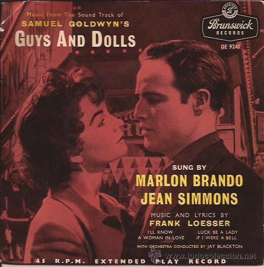 EP-GUYS AND DOLLS-MARLON BRANDO JEAN SIMMONS-BRUNSW. 9241-UK-1957-TRI CENTER (Música - Discos de Vinilo - EPs - Bandas Sonoras y Actores)