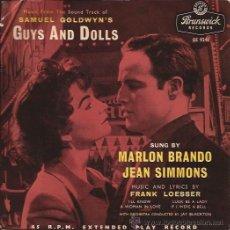 Discos de vinilo: EP-GUYS AND DOLLS-MARLON BRANDO JEAN SIMMONS-BRUNSW. 9241-UK-1957-TRI CENTER. Lote 29620821