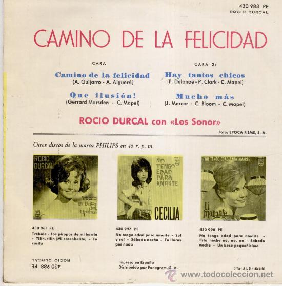 Discos de vinilo: ROCIO DURCAL & LOS SONOR - HAY TANTOS CHICOS +3 - EP 1964 --- EX / EX - Foto 2 - 31138576