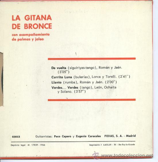 Discos de vinilo: La Gitana de Bronce – Guitarristas Cepero y Caracoles – De vuelta – Currito Luna – 1966 – EP FIDIAS - Foto 2 - 30402755