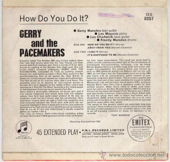 Discos de vinilo: GERRY AND THE PACEMAKERS - HOW DO YOU DO IT + 3 - EP COLUMBIA 1963 - EX / EX - Foto 2 - 29695391