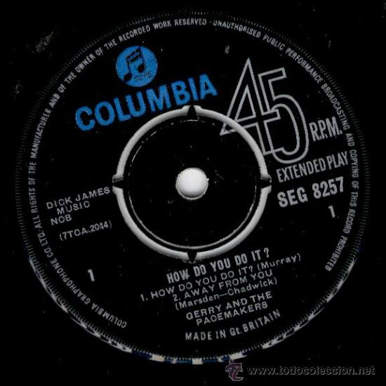 Discos de vinilo: GERRY AND THE PACEMAKERS - HOW DO YOU DO IT + 3 - EP COLUMBIA 1963 - EX / EX - Foto 3 - 29695391