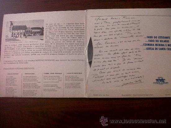 Discos de vinilo: S EDITIONSINGLE ANTONIO ROSSANO CHANTE LE PORTUGAL-FADOS DE COIMBRA-DISQUES TYPIC EDITIONS J.GARZON - Foto 2 - 29698665