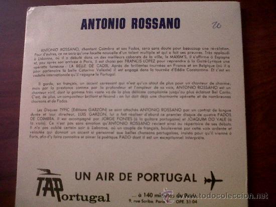 Discos de vinilo: S EDITIONSINGLE ANTONIO ROSSANO CHANTE LE PORTUGAL-FADOS DE COIMBRA-DISQUES TYPIC EDITIONS J.GARZON - Foto 3 - 29698665