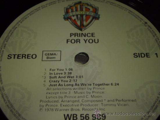 Discos de vinilo: PRINCE ' FOR YOU ' NEW YORK - USA 1978 LP33 WARNER BROS RECORDS - Foto 3 - 29703818