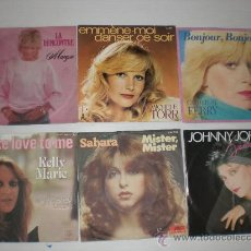 Discos de vinilo: LOTE Nº8.- 6 SINGLES CANTANTES FRANCESES HITS AÑOS 70-80 EXCELENTE ESTADO, OFERTA VER + INFORMACION. Lote 29722143