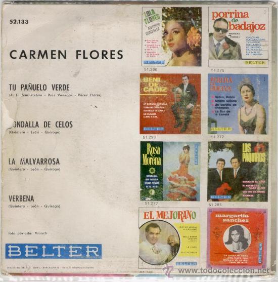 Discos de vinilo: CARMEN FLORES - RONDALLA DE CELOS - VERBENA + 2 - EP 1967 VG / VG - Foto 2 - 29740679