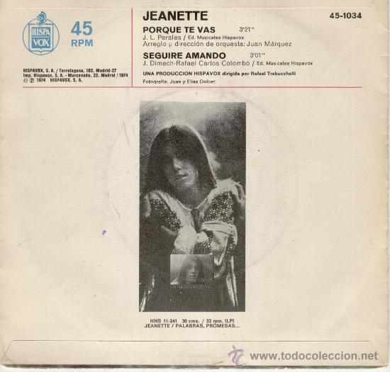 Discos de vinilo: JANETTE - PORQUE TE VAS - SEGUIRE AMANDO - SG 1974 / EX / EX - Foto 2 - 58491064