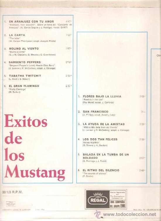 Discos de vinilo: LP EXITOS DE LOS MUSTANG (TEMAS DE THE BEATLES , THE MOVE , PAUL SIMON, THE TURTLES, ETC) - Foto 2 - 29797511