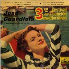 Discos de vinilo: SINGLE - JOSÉ GUARDIOLA - DANS LE CREUX DE TA MAIN.... Lote 29810455