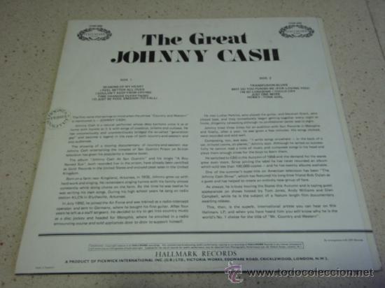 Discos de vinilo: JOHNNY CASH ' THE GREAT JOHNNY CASH ' ENGLAND LP33 HALLMARK RECORDS - Foto 2 - 29830592