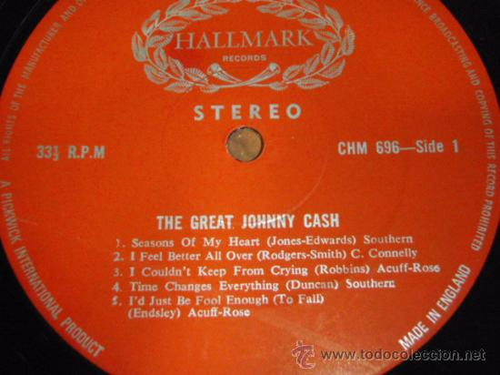 Discos de vinilo: JOHNNY CASH ' THE GREAT JOHNNY CASH ' ENGLAND LP33 HALLMARK RECORDS - Foto 3 - 29830592