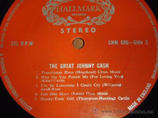 Discos de vinilo: JOHNNY CASH ' THE GREAT JOHNNY CASH ' ENGLAND LP33 HALLMARK RECORDS - Foto 4 - 29830592