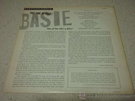 Discos de vinilo: COUNT BASIE 'THIS TIME BY BASIE! HITS OF THE 50'S AND 60'S' Arrangements by QUINCY JONES USA LP - Foto 2 - 29930805