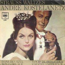 Discos de vinilo: 45 RPM - SINGLE VINILO - AÑO 1962 - STRAUSS WALTZES - ANDRE KOSTELANETZ ( DANUBIO AZUL , ETC). Lote 30084049