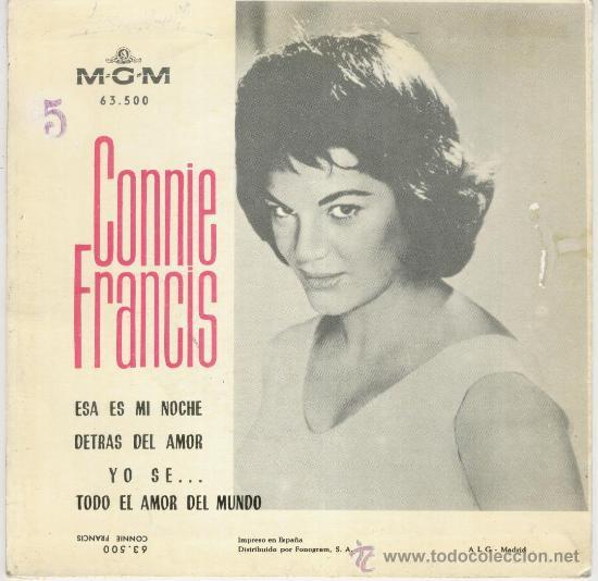 Discos de vinilo: CONNIE FRANCIS - ESA ES MI NOCHE - TODO EL AMOR DEL MUNDO + 2 - EP M. G. M. 1963 EX / EX - Foto 2 - 30086402