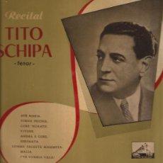Discos de vinilo: LP-25 CTMS-TITO SCHIPA-RECITAL-VSA 1056-EDIC.ESPAÑOLA-. Lote 30098778