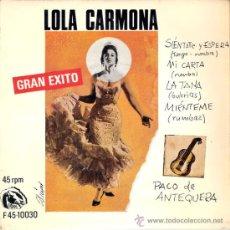 Discos de vinilo: LOLA CARMONA - SIENTATE Y ESPERA + 3 (EP DE 4 CANCIONES) FIDIAS 1967 - EX/EX. Lote 30122414