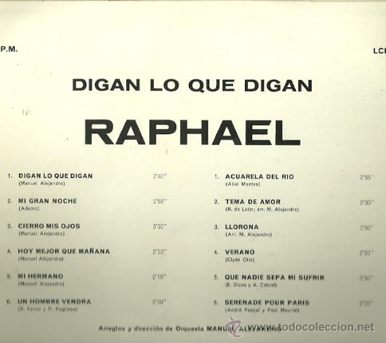 Discos de vinilo: RAPHAEL LP SELLO LA VOZ DE SU AMO AÑO 1967 EDICCIÓN ESPAÑOLA - Foto 2 - 30383443