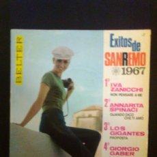 Disques de vinyle: EXITOS DE SAN REMO 1967 - IVA ZANICCHI / ANNARITA SPINACI / LOS GIGANTES / GIORGIO GABER. Lote 30388645