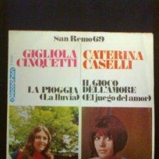 Discos de vinilo: SAN REMO 69 - GIGLIOLA CINQUETTI / CATERINA CASELLI. Lote 30388904
