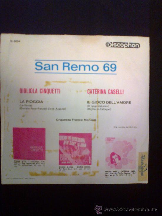 Discos de vinilo: SAN REMO 69 - GIGLIOLA CINQUETTI / CATERINA CASELLI - Foto 2 - 30388904