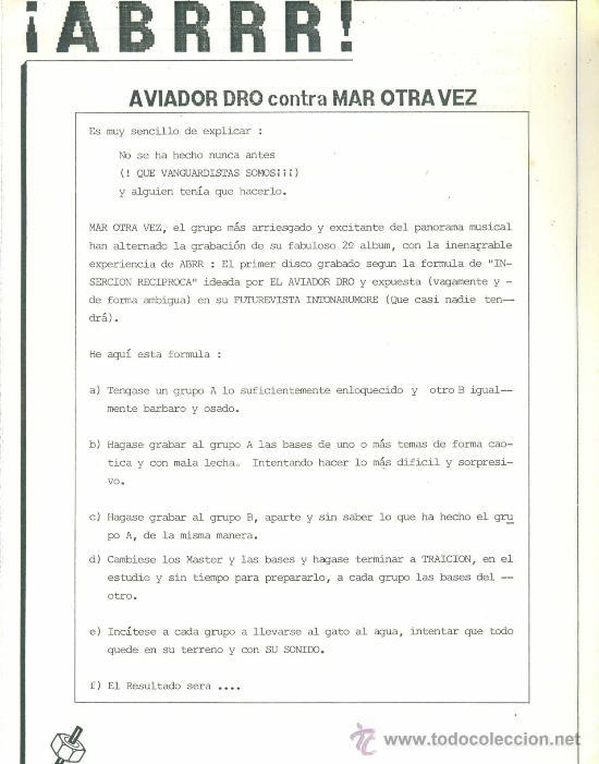 Discos de vinilo: MAR OTRA VEZ. ¡ABRRR! AVIADOR DRO contra MAR OTRA VEZ (vinilo maxi single 1986 ) - Foto 2 - 30392619