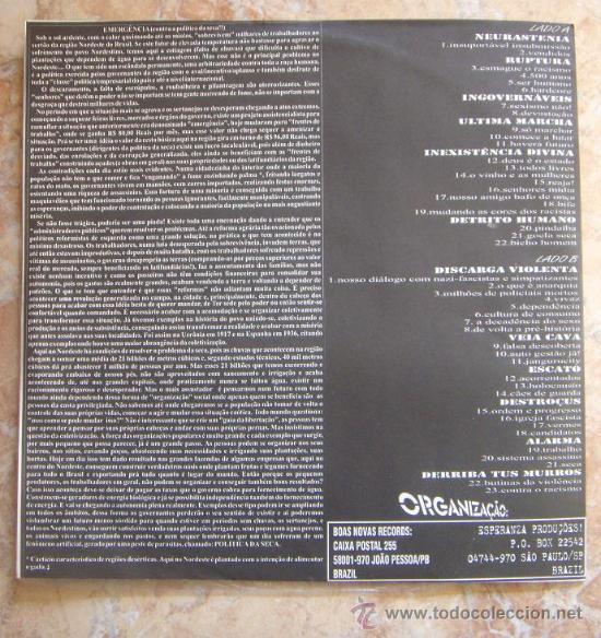 Discos de vinilo: EMERGENCIA: ENQUANTO VIDAS SECAM DE FOME E SEDE (1999) Super raro LP de punk/HC brasileño!!! - Foto 2 - 30526198