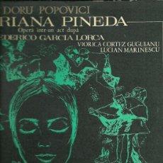 Discos de vinilo: FEDERICO GARCIA LORCA LP SELLO ELECTRECORD DE LA OPERA MARIANA PINEDA EDITADO EN RUMANIA . Lote 30501586