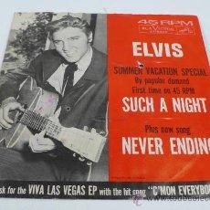 Discos de vinilo: ELVIS PRESLEY, SUMMER VACATION SPECIAL,45 RPM SINGLE.. Lote 30580824