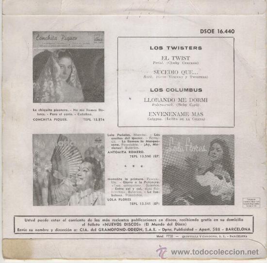 Discos de vinilo: LOS TWISTERS // LOS COLUMBUS - EL TWIST - SUCEDIO QUE... + 2 SPAIN 1961 / VG+ /VG++ - Foto 2 - 30600672