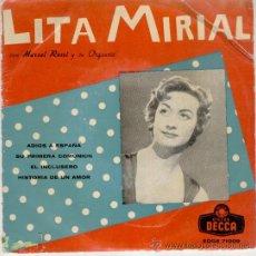 Discos de vinilo: LITA MIRIAL - ADIOS A ESPAÑA - SU PRIMERA COMUNION - EL INCLUSERO + 1 - 1959 VG+ / VG++. Lote 30601477
