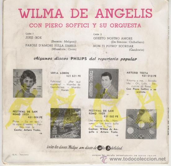 Discos de vinilo: WILMA DE ANGELIS - JUKE-BOX ( LA MAQUINA DE DISCOS ) + 3 - EP SPAIN 1959 - VINILO AZUL VG++ / EX - Foto 2 - 30619826
