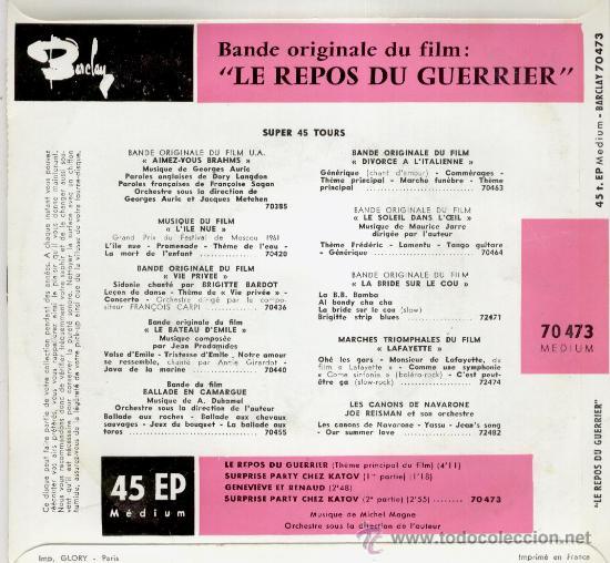 Discos de vinilo: LE REPOS DU GUERRIER B.S.O. - BRIGITTE BARDOT EP FRANCE - EX / EX - Foto 2 - 30620136