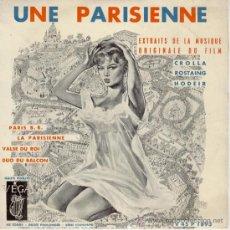 Discos de vinilo: UNA PARISINA B.S.O. ( UNE PARISIENNE ) BRIGITTE BARDOT EP FRANCE - EX / EX. Lote 30620178