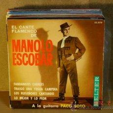 Discos de vinilo: MANOLO ESCOBAR - EL CANTE FLAMENCO DE... - BELTER 52.028 - 1960. Lote 30622794