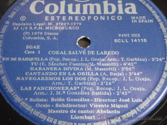 Discos de vinilo: CORAL SALVÉ DE LAREDO HABANERAS 1er PREMIO CERTAMEN INTERNACIONAL TORREVIEJA 1978 LP33 - Foto 4 - 30750157