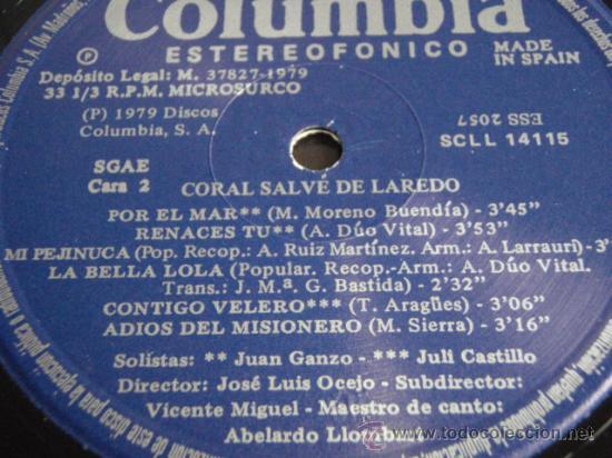 Discos de vinilo: CORAL SALVÉ DE LAREDO HABANERAS 1er PREMIO CERTAMEN INTERNACIONAL TORREVIEJA 1978 LP33 - Foto 5 - 30750157